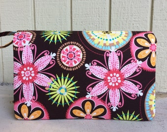 Carnival bloom diaper clutch, gift for her, diaper bag organizer, floral nappy purse with clear zipper pouch