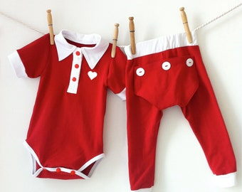 Dressy Red Baby Boy Valentine Outfit, Baby Valentines Outfit, Toddler Valentines, Matching Pajamas, Baby Boy Clothes, Baby Boy Take Home
