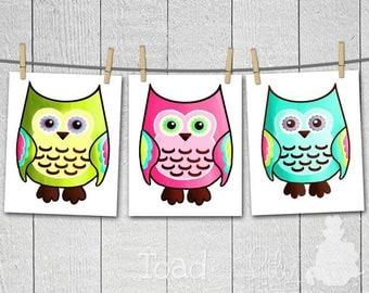 Set of 3 Funky Mod Owls Girls Bedroom Nursery ART PRINTS 3AP049