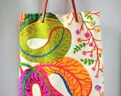 Swedish Textile Josef Frank Bag with Leather Handle