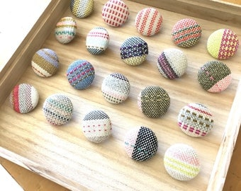 Button pins with handwoven original fabric big
