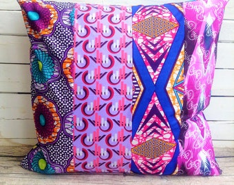 African throw pillow, Purples, African wax print cushion, One of a kind, African fabric decor, African print cushion, African wax cushion,