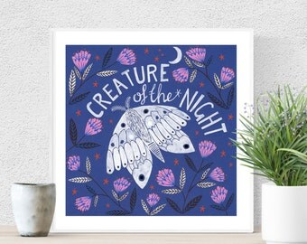 Limited Edition Creature of the Night Hand Glittered Giclee Print