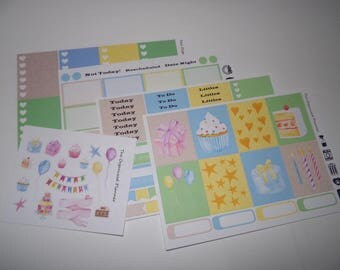Birthday Weekly Sticker Kit / Great for your Erin Condren Vertical Life Planner