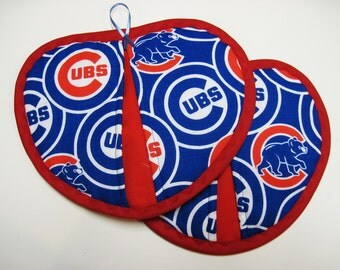 Chicago Cubs Baseball hot pad / pot holder  set of 2
