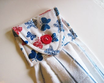 Hanging towel Oven door towel button top towel  butterflies red blue   print white towel Quiltsy handmade