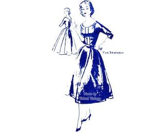 ON SALE 1950s Cocktail Dress Pattern Spadea A-2007 Scoop Neck Full Skirt Dress, Bust 35, Fira Benenson Vintage Sewing Pattern, Uncut