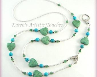 NEW!! LANYARD ID Badge Holder Green Hearts Turquoise Howlite Beads, Necklace, Custom Badge Holders, Neck Strap, breakaway, Gemstone