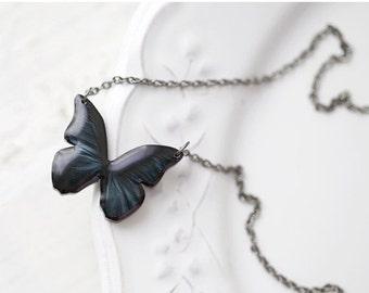 Black Butterfly necklace - Black Butterfly wings (N001)