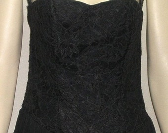 CHRISTMAS SALE Vintage 1980's Positively Ellyn Strapless Lace Overlay Dress Cocktail Black 7/8 Chiffon Skirt