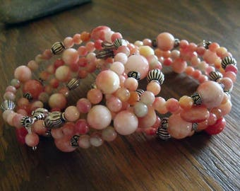 "Set of Two Peach Candy Jade and Sterling Silver Bohemian Style Wrap Bracelets on Memory Wire ""Peach Whimsies"""
