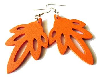 Bright Orange Wooden Leaf Earrings