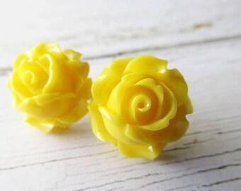 Yellow Rose Flower Stud Post Earrings