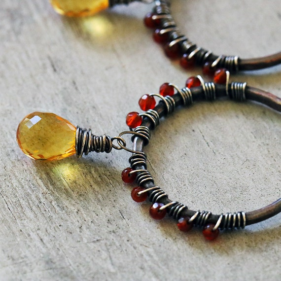 Golden Quartz & Carnelian Wrapped Copper Earrings with Sterling Silver
