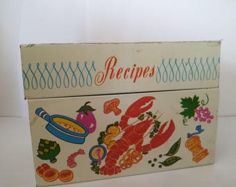 Vintage 1960s Metal Recipe Box Tin