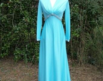 ON SALE 70s Blue Maxi Dress size Small Extra Small Silver Metallic Trim Empire Waist Robins Egg