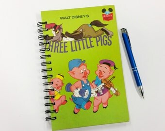 Three Little Pigs, Recycled Book Journal, Notebook