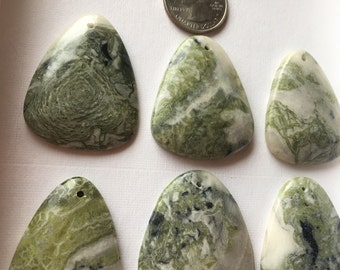 Large Natural Earth Green Mixed Jasper  Puff Focal (1)