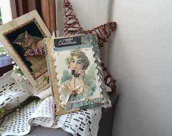 Victorian Christmas Card - Handmade Card for Christmas - Teal Christmas Card