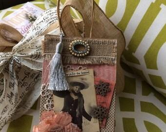 Christmas Gift Bag - Victorian Christmas Gift Bag - Pink/Peach Gift Bag