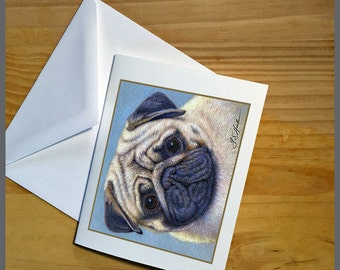 Pug Dog Fine Art Note Cards