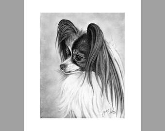 Papillon Dog Fine Art 8x10 Print