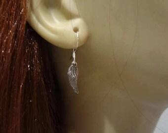 Silver Angel Wing Earrings, Feather earring, Jewelry ,Angel Wing Earrings, Biker Earrings