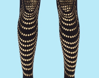 Gifts for her, Tights for women, black and gold accessory, Goldfish, gift for her, gift ideas, available in S-M, L-XL