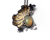 Chrysanthemum Ethiopian Opal necklace