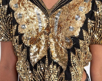 35% OFF SPRING SALE The Sequin Butterfly Gatsby Holiday Gold and Black Tunic