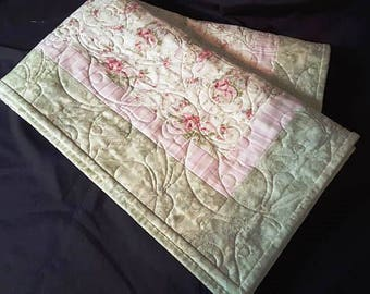 Shabby Chic Baby Quilt with whispers of pinks and greens