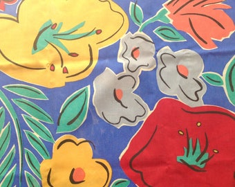 Pillowcases Large Tropical Flowers Blue Orange Pair