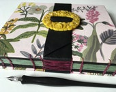 floral art journal with multimedia papers, leather strap & vintage flower buckle. handbound journal, Coptic stitched blank books