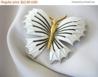 Holiday Sale White Butterfly Brooch Pin Enamel Goldtone Body Black Accent 1970s