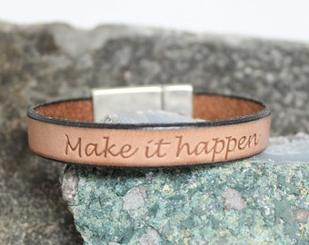 "Leather Bracelet ""Make it happen"", brown, modern, high fashion, stacking, minimalist, rocker, unisex, womans, mens - free shipping!"