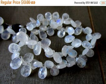 SALE Rainbow Moonstone faceted pear briolette