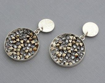 Sterling silver disc post stud sparkly earrings Swarovski earrings crystal earrings contemporary unusual earrings artisan handmade jewelry