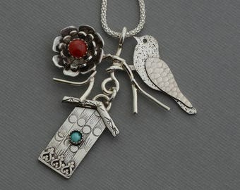 Sparrow necklace birdhouse necklace pendant genuine turquoise necklace red coral necklace sterling silver flower natural stone jewelry