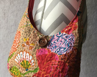 Indian Kantha Embroirdered Handmade Fuchsia Floral Hobo Bag