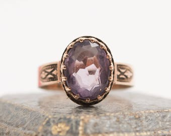 Victorian Antique 9K Rose Gold Amethyst Ring