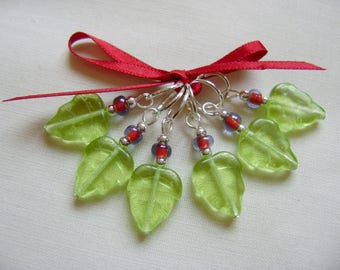 Pretty Glass Leaf Stitch Markers for Knitting or Crochet