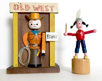 Vintage Bank Old West Cowboy Push Puppet Native American Indian