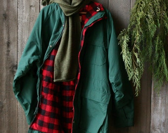 LL Bean Coat Wool lined Rain Coat Green With Red plaid Wool Lining Large Vintage From Nowvintage on Etsy