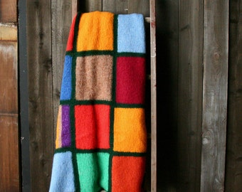 Mohair Wool Soft Cozy Afghan Hand Color Block Knitted Blanket Hygge Bohemian Home Decor Vintage From Nowvintage on Etsy