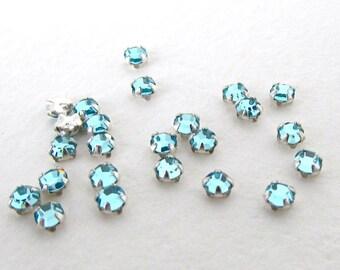 Swarovski Crystal Bead Rose Montees Aquamarine Light Aqua Sew On Tiny 10ss swa0803 (24)