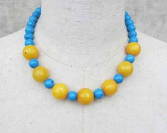 Bright Blue Turquoise and Yellow Beaded necklace