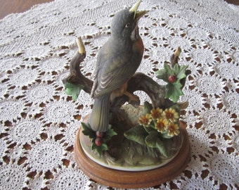 Robin  -  Andrea by Sadek - Figurine on wooden stand  - 10 in tall -