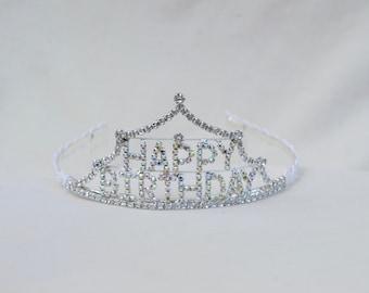 Happy Birthday Rhinestone Tiara / Girls Birthday Tiara / Girls Rhinestone Tiara / Toddler Princess Birthday Tiara / Toddler Tiara