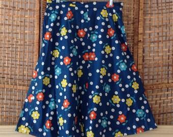 Vintage Royal Blue Flower Power Cotton Skirt Sz 13/14 NOS