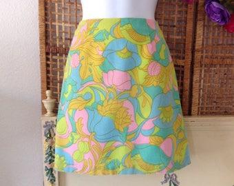 Vintage 60's Mod Mini Skirt Neon Pink Green Flower Power Sz XS